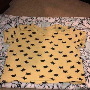Tops - Yellow Cat Print Crop Top